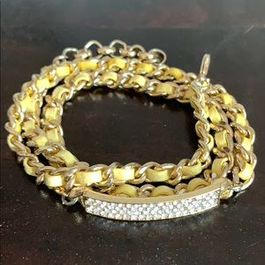 Faux diamond gold color Wrap Bracelet